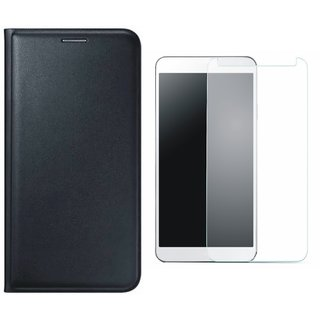 Vivo Y55 Leather Flip Cover with Tempered Glass (Black) by Vivacious