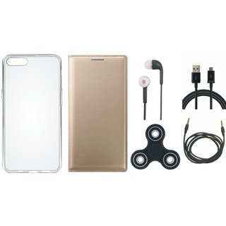 Vivo Y69 Premium Leather Cover with Spinner, Silicon Back Cover, Earphones, USB Cable and AUX Cable by Vivacious ( Gold )