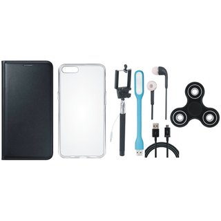 Redmi A1 Stylish Leather Cover with Spinner, Silicon Back Cover, Selfie Stick, Earphones, USB LED Light and USB Cable by Vivacious ( Black )
