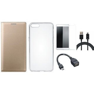 Vivo Y69 Premium Leather Cover with Silicon Back Cover, Tempered Glass, OTG Cable and USB Cable by Vivacious ( Gold )