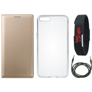 Vivo Y69 Cover with Silicon Back Cover, Digital Watch and AUX Cable (Gold ) by Vivacious