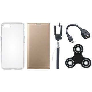 Vivo Y69 Cover with Spinner, Silicon Back Cover, Selfie Stick and OTG Cable (Gold ) by Vivacious
