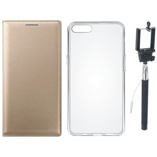 Vivo Y69 Premium Leather Cover with Silicon Back Cover and Selfie Stick by Vivacious ( Gold )