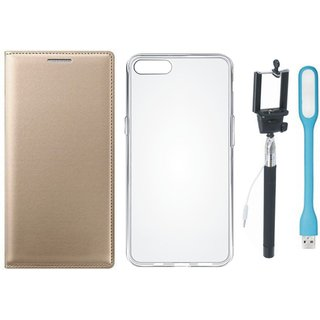 Vivo Y69 Premium Leather Cover with Silicon Back Cover, Selfie Stick and USB LED Light by Vivacious ( Gold )