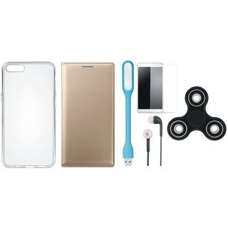 Vivo Y69 Stylish Leather Cover with Spinner, Silicon Back Cover, Tempered Glass, Earphones and USB LED Light by Vivacious ( Gold )