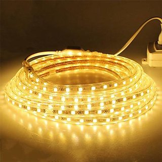 5 Meter Warm White Colour LED Strip AC 220V Flexible Light RGB Dimmable SMD Waterproof Power Plug , Outdoor Garden Lighting