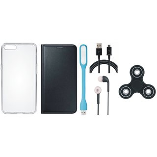Vivo Y55 Premium Leather Cover with Spinner, Silicon Back Cover, Earphones, USB LED Light and USB Cable by Vivacious ( Black )
