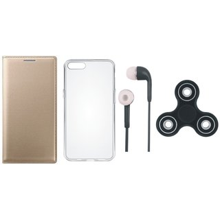 Oppo A57 Premium Leather Cover with Spinner, Silicon Back Cover and Earphones by Vivacious ( Gold )