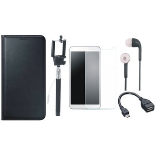 Oppo A57 Stylish Leather Cover with Free Selfie Stick, Tempered Glass, Earphones and OTG Cable by Vivacious ( Black )