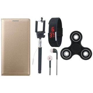 Oppo A57 Stylish Leather Cover with Spinner, Selfie Stick, Digtal Watch and Earphones by Vivacious ( Gold )