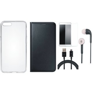 Oppo A57 Premium Leather Cover with Silicon Back Cover, Tempered Glass, Earphones and USB Cable by Vivacious ( Black )