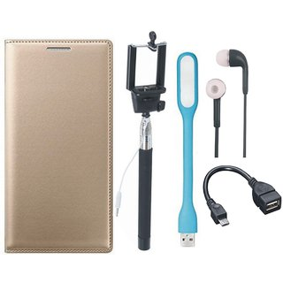 Oppo A57 Flip Cover with Selfie Stick, Earphones, OTG Cable and USB LED Light by Vivacious ( Gold )