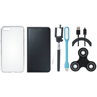 Oppo A37 Premium Leather Cover with Spinner, Silicon Back Cover, Selfie Stick, USB LED Light and USB Cable (Black) by Vivacious