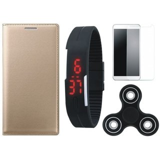 Oppo A57 Stylish Leather Cover with Free Spinner, Digital LED Watch and Tempered Glass by Vivacious ( Gold )