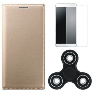 Vivo Y55L Premium Leather Cover with Spinner, Tempered Glass (Gold ) by Vivacious