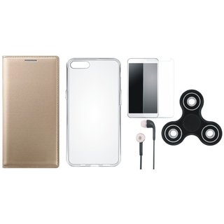 Oppo A57 Stylish Leather Cover with Spinner, Silicon Back Cover, Tempered Glass and Earphones by Vivacious ( Gold )