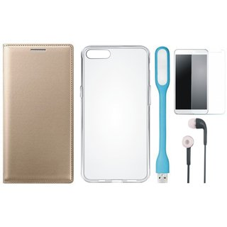 Oppo A57 Flip Cover with Silicon Back Cover, Tempered Glass, Earphones and USB LED Light by Vivacious ( Gold )