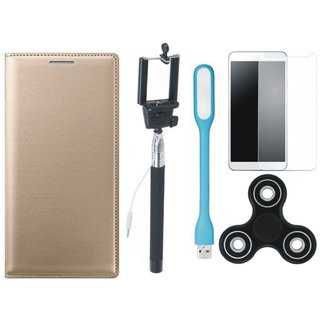 Vivo Y55 Stylish Leather Cover with Free Spinner, Selfie Stick, Tempered Glass, and LED Light by Vivacious ( Gold )