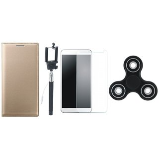 Oppo A37 Premium Leather Cover with Free Spinner, Selfie Stick and Tempered Glass (Gold ) by Vivacious