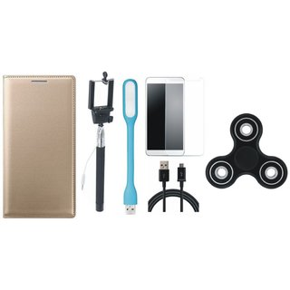 Oppo A37 Premium Leather Cover with Free Spinner, Selfie Stick, Tempered Glass, LED Light and USB Cable (Gold ) by Vivacious