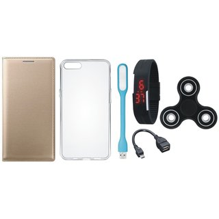 Oppo A57 Premium Leather Cover with Spinner, Silicon Back Cover, Digital Watch, OTG Cable and USB LED Light by Vivacious ( Gold )