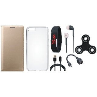 Oppo A57 Flip Cover with Spinner, Silicon Back Cover, Digital Watch, Earphones, OTG Cable and USB Cable by Vivacious ( Gold )