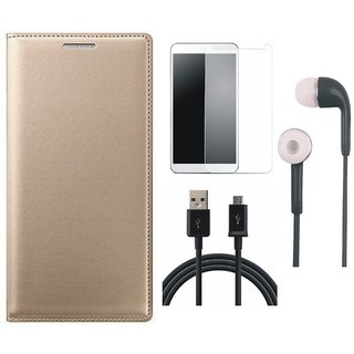 Vivo Y55 Stylish Leather Cover with Tempered Glass, Earphones and USB Cable by Vivacious ( Gold )