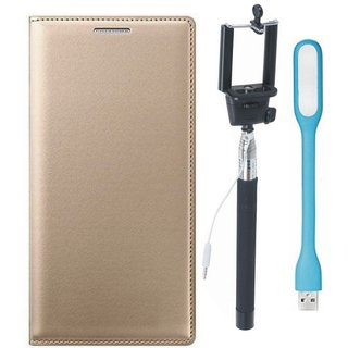 Oppo A57 Premium Leather Cover with Selfie Stick and USB LED Light by Vivacious ( Gold )