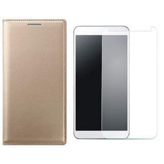Oppo A57 Stylish Leather Cover with Tempered Glass by Vivacious ( Gold )