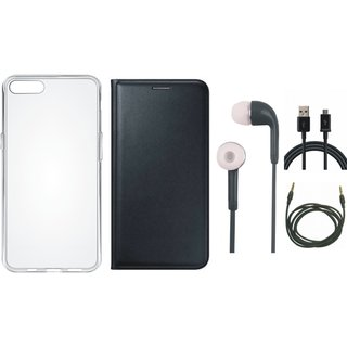 Oppo A37 Cover with Silicon Back Cover, Earphones, USB Cable and AUX Cable (Black) by Vivacious