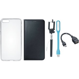 Oppo A57 Stylish Leather Cover with Silicon Back Cover, Selfie Stick, LED Light and OTG Cable by Vivacious ( Black )