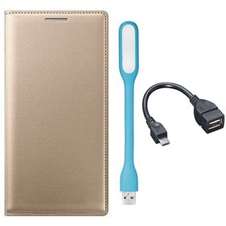 Oppo A37 Cover with USB LED Light and OTG Cable (Gold ) by Vivacious