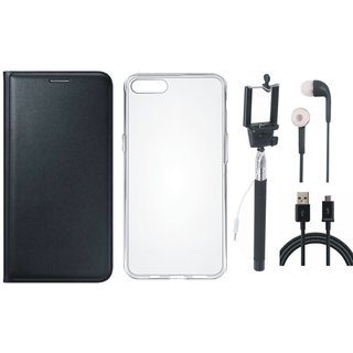 Vivo Y55s Leather Flip Cover with Silicon Back Cover, Selfie Stick, Earphones and USB Cable (Black) by Vivacious