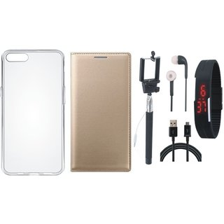 Vivo Y55s Leather Flip Cover with Silicon Back Cover, Selfie Stick, Digtal Watch, Earphones and USB Cable (Gold ) by Vivacious