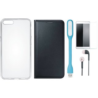 Oppo A37 Stylish Leather Cover with Silicon Back Cover, Tempered Glass, Earphones and USB LED Light by Vivacious ( Black )