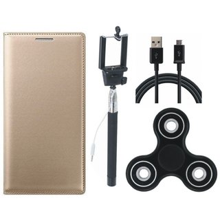 Oppo A37 Stylish Leather Cover with Spinner, Selfie Stick and USB Cable by Vivacious ( Gold )
