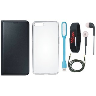 Vivo Y55L Stylish Leather Cover with Silicon Back Cover, Digital Watch, Earphones, USB LED Light and AUX Cable by Vivacious ( Black )