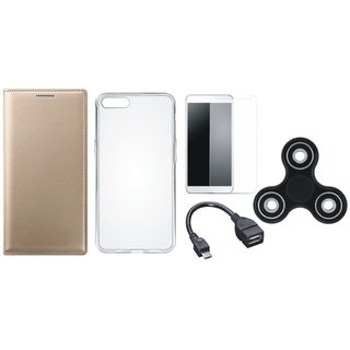 Oppo A37 Premium Leather Cover with Spinner, Silicon Back Cover, Tempered Glass and OTG Cable by Vivacious ( Gold )
