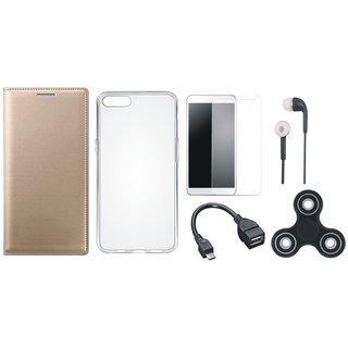 Oppo A37 Flip Cover with Spinner, Silicon Back Cover, Tempered Glass, Earphones and OTG Cable by Vivacious ( Gold )
