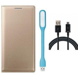Oppo A37 Cover with USB LED Light and USB Cable (Gold ) by Vivacious