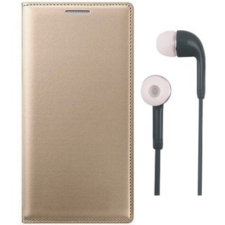 Oppo A37 Premium Leather Cover with Earphones by Vivacious ( Gold )