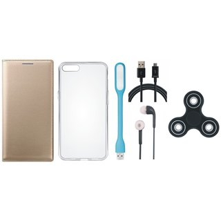 Oppo A37 Flip Cover with Spinner, Silicon Back Cover, Earphones, USB LED Light and USB Cable by Vivacious ( Gold )