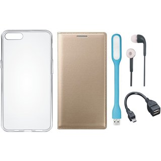 Vivo V7 Plus Stylish Leather Cover with Silicon Back Cover, Earphones, USB LED Light and OTG Cable by Vivacious ( Gold )