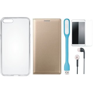 Vivo Y53 Cover with Silicon Back Cover, Tempered Glass, Earphones and USB LED Light (Gold ) by Vivacious