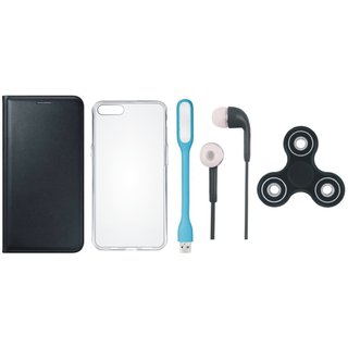 Vivo Y53 Flip Cover with Spinner, Silicon Back Flip Cover, Earphones and USB LED Light (Black) by Vivacious
