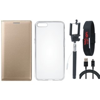 Vivo Y53 Premium Leather Cover with Silicon Back Cover, Selfie Stick, Digtal Watch and USB Cable by Vivacious ( Gold )