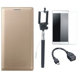 Vivo Y53 Premium Leather Cover with Free Selfie Stick, Tempered Glass and OTG Cable by Vivacious ( Gold )