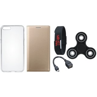 Vivo Y53 Premium Leather Cover with Spinner, Silicon Back Cover, Digital Watch and OTG Cable by Vivacious ( Gold )