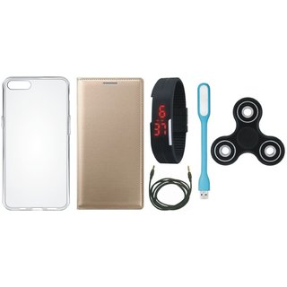 Vivo Y53 Premium Leather Cover with Spinner, Silicon Back Cover, Digital Watch, USB LED Light and AUX Cable by Vivacious ( Gold )
