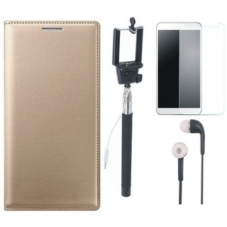 Vivo Y53 Premium Leather Cover with Free Selfie Stick, Tempered Glass and Earphones by Vivacious ( Gold )
